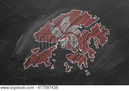 Country Map And Flag Of Hong Kong Drawing With Chalk On A Blackboard. One Of A Large Series Of Maps