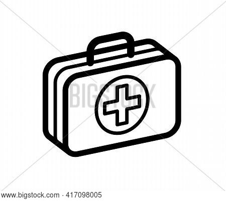 First Aid Medical Kit Vector Illustration Isolated On White Background, Doctor Fast Help Or Vaccinat