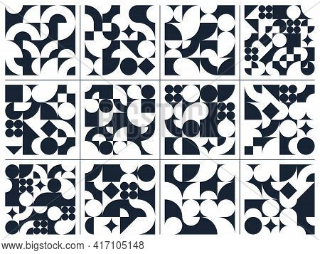 Abstract Vector Geometric Seamless Patterns Set, Black And White Simple Geometric Elements Repeat Ti