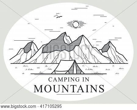 Camping Tent In Mountains Range Vector Linear Illustration Isolated On White, Holidays And Vacations