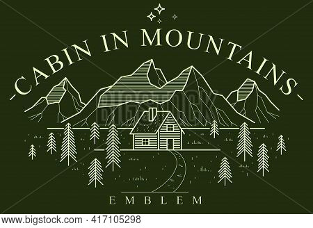 Cabin In Mountains Linear Vector Nature Emblem On Dark, Log Cabin Cottage For Rest In Pine Forest, H