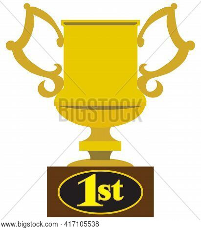 A Flat Vector First Place Gold Metal Trophy