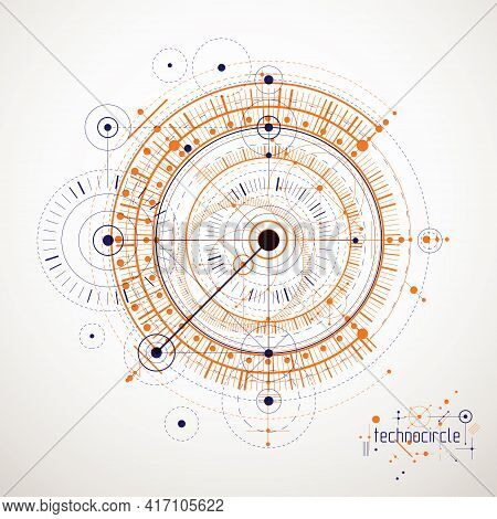 Mechanical Scheme, Vector Engineering Drawing With Circles And Geometric Parts Of Mechanism.