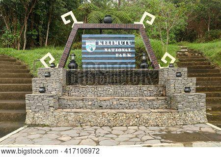 Kelimutu, Flores, Indonesia - April 8, 2021. Entrance Gate To National Park Kelimutu Ende Flores. Th
