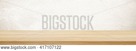 Wood Table And Brown Wall Background In Kitchen, Wooden Shelf, Counter For Food And Product Display