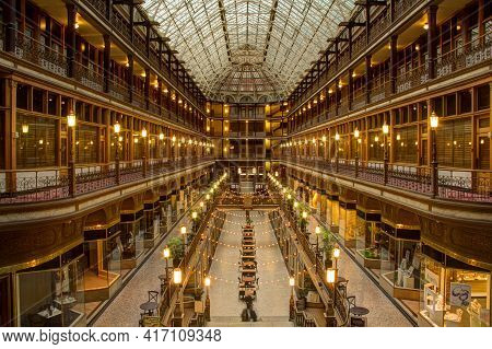 Cleveland, Oh / United States - September 12, 2015: Inside The Arcade. The Arcade In Downtown Clevel