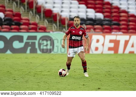 Rio, Brazil - April 15, 2021: Diego Player In Match Between Flamengo V Vasco By Carioca Championship