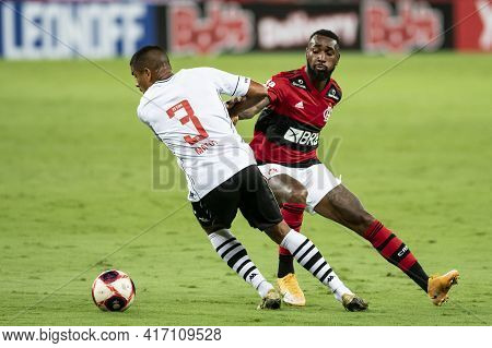 Rio, Brazil - April 15, 2021:leo Matos In Ball Dispute With Bruno Henrique Player In Match Between F
