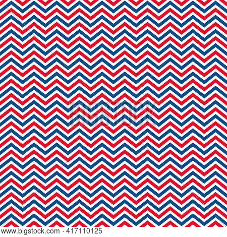 American Patriotic Seamless Pattern. Usa Traditional Background. Red Blue White Chevron Backdrop. Ve
