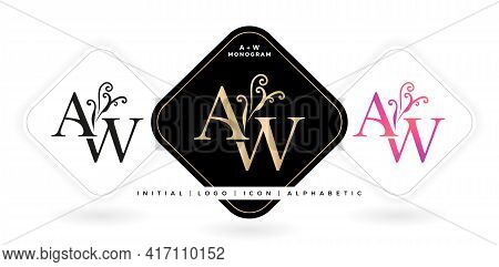 Aw Initial Letter And Graphic Name, Aw Monogram, For Wedding Couple Logo Monogram, Logo Company And
