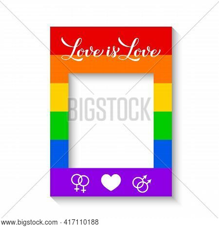 Lgbt Photo Booth Frame Isolated On White. Rainbow Photobooth Props. Lgbtq Community Party Decoration