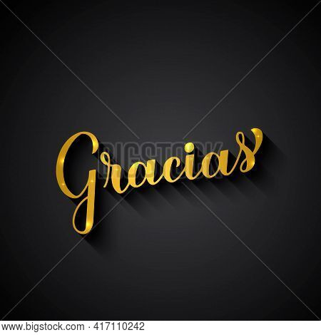 Thank You In Spanish Language. Gold Lettering On Black Background. Vector Template For Wedding Thank