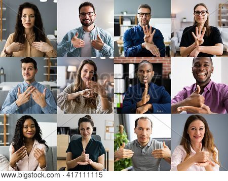 People Learning Deaf Sign Language In Video Conference