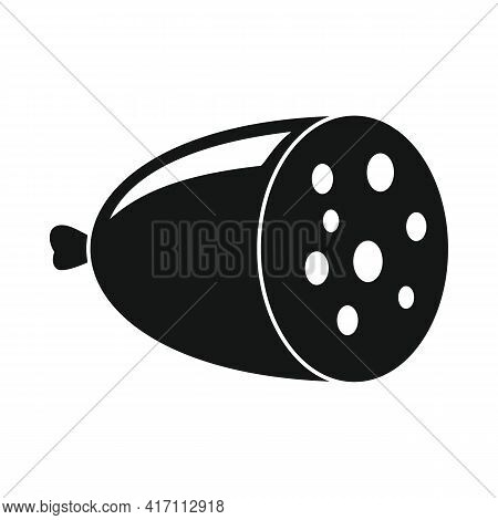 Vector Sausage Black Simple Icon Isolated On White