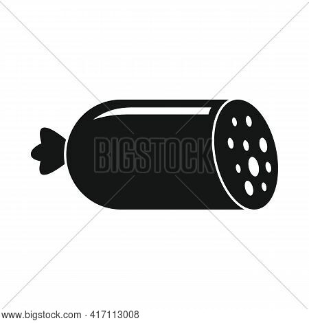 Vector Salami Sausage Black Simple Icon Isolated