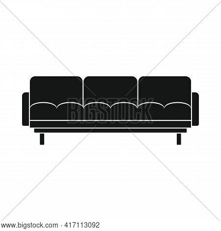 Vector Sofa Black Simple Icon Isolated On White