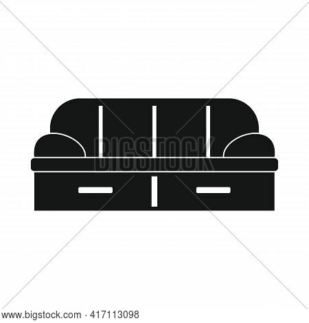 Vector Soft Sofa Black Simple Icon Isolated On White
