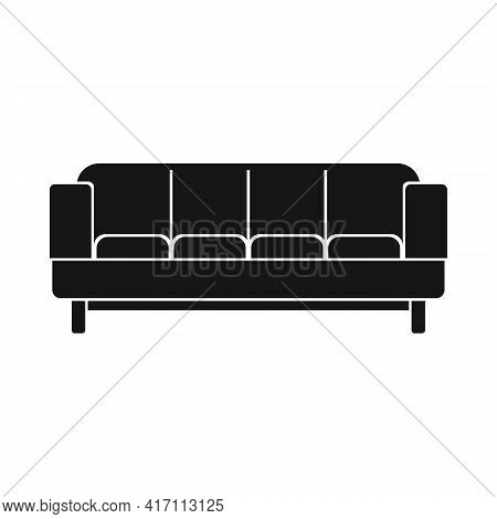 Vector Sofa For Relaxing Black Simple Icon Isolated