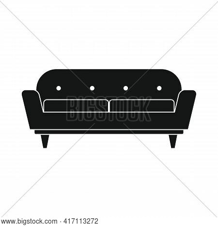 Vector Contemporary Sofa Black Simple Icon Isolated On White
