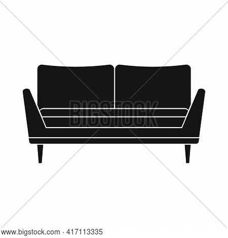 Vector Lounge Sofa Black Simple Icon Isolated