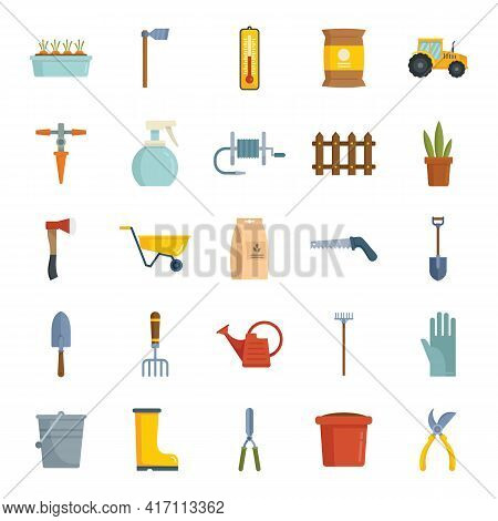 Vector Gardeninig Instruments Flat Icons Collection Isolated On White