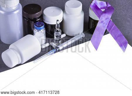 Purple Awareness Ribbon. World Lupus Day. Autoimmune Disease. Immune System Disorders. May Lupus Awa