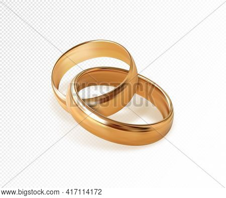 Two Interlocking Golden Wedding Rings On Transparent Background. Quality Realistic Vector, 3d Illust