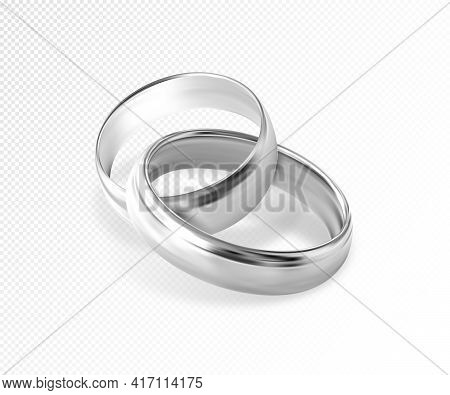 Two Interlocking Silver Or Platinum Wedding Rings On Transparent Background. Quality Realistic Vecto