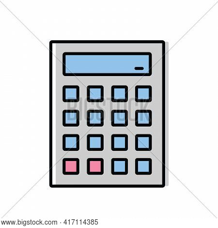 School Calculator. Science And Education. Color Vector Icon In Flat Style