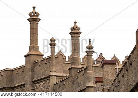 The Walls And Towers Of The Old Palace Isolated On White Background. Vorontsov Palace, Or The Alupka