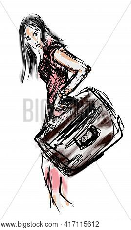 Sketch Portrait Of A Young Girl With Suitcase Eps10 Vector Illustration Isolated On White Background