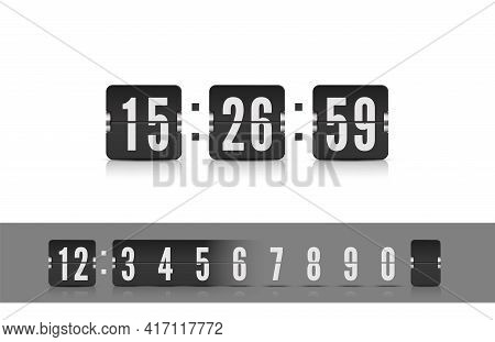 Vector Coming Soon Web Page Design Template With Flip Time Counter. Scoreboard Number Font. Vector I