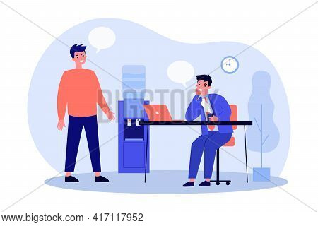 Two Cartoon Men Communicating In Office Flat Vector Illustration. Office Worker And Chief Or Busines