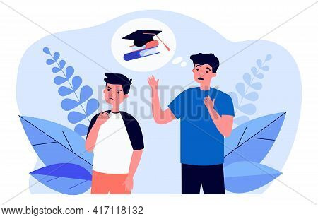 Cartoon Father Worrying About Son Studying At School. Flat Vector Illustration. Dad Thinking About I