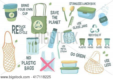 Zero Waste Recommendations Vector Illustrations Set. Collection Of Reusable Items, Bags, Toothbrush,