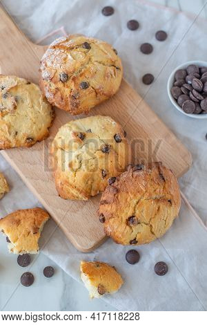 Sweet Home Made Chocolate Chip Scones On A Table