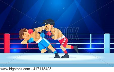 Boy Fighter Or Boxer Loses And Gets Hit In The Face While Having A Knockdown Or Knockout In The Boxi
