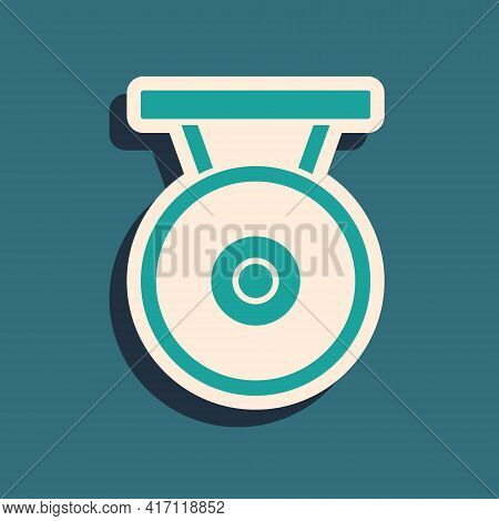 Green Gong Musical Percussion Instrument Circular Metal Disc Icon Isolated On Green Background. Long