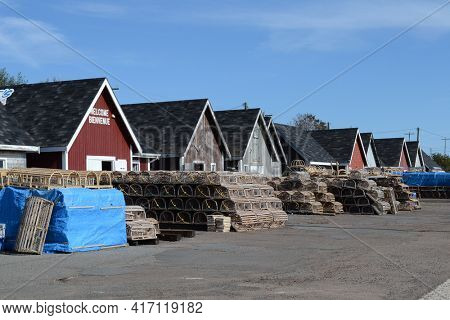 PRINCE EDWARD ISLAND, CANADA - OCT 11, 2011: Lobster Traps on Dock at Cavendish, Prince Edward Island, Canada