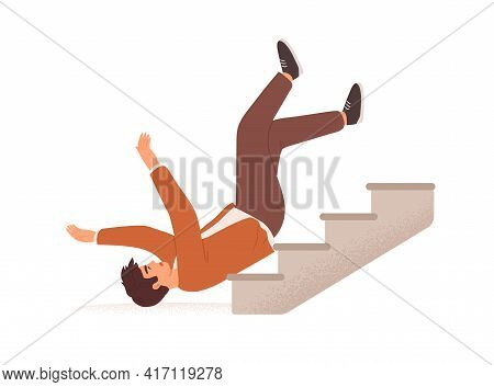 Person Falling Down From Career Ladder. Fall Of Young Man From Stairs. Failure, Fiasco, Problem And
