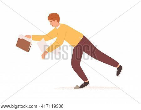 Person Falling Down. Fall Of Young Man With Business Documents And Papers. Career Failure, Fiasco, P