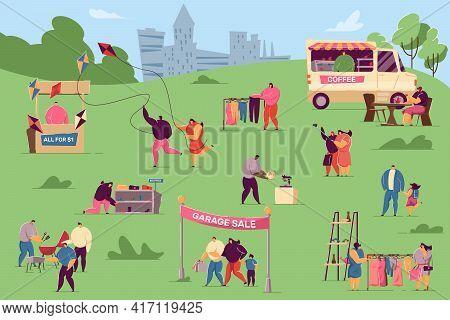 Tiny People Taking Rest At Garage Sale In City Park. Flat Vector Illustration. Summer Fair Or Festiv