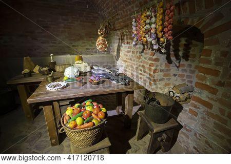 Old Brick Basement For Storing Vegetables.basement Brick Building.