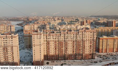 Penza Russia, Arbekovskiy District. One Of The Sleeping Areas Of The City Of Penza. City At Sunset.