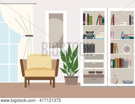 Vector Illustration Of Living Room Interior. The Room Has A Large Bookcase With Books, An Armchair,