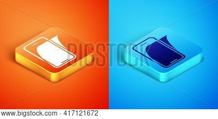 Isometric Glass Screen Protector For Smartphone Icon Isolated On Orange And Blue Background. Protect