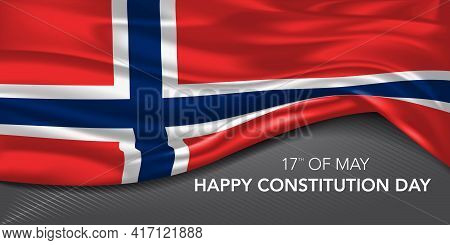 Norway Happy Constitution Day Greeting Card, Banner With Template Text Vector Illustration