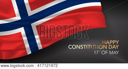 Norway Constitution Day Greeting Card, Banner With Template Text Vector Illustration