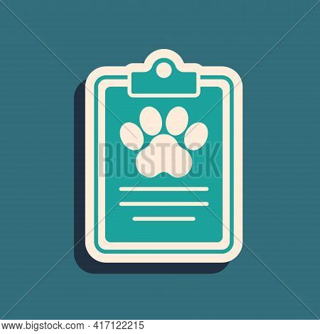 Green Clipboard With Medical Clinical Record Pet Icon Isolated On Green Background. Health Insurance