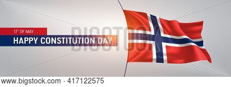 Norway Happy Constitution Day Greeting Card, Banner Vector Illustration